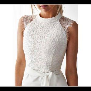 Dresses & Skirts - White lace midi dress